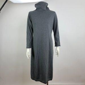 J Jill Womens PS Turtleneck Button Dress Gray